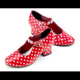 chaussures à talons rouges à pois blancs